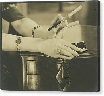 A Woman Holding A Cigarette Holder Canvas Print by Edward Steichen