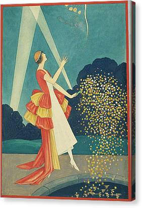 Fireworks Canvas Print - A Woman Holding A Firework by George Wolfe Plank