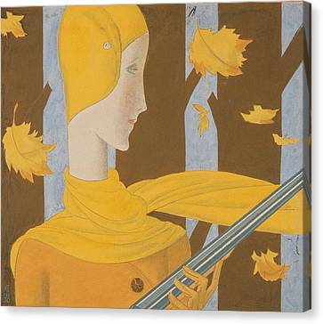 Autumn Leaf Canvas Print - A Woman Holding A Rifle by Eduardo Garcia Benito