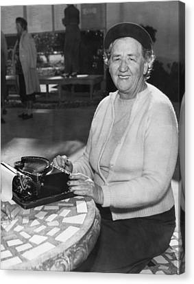 A Woman Journalist Typing Canvas Print by Underwood Archives