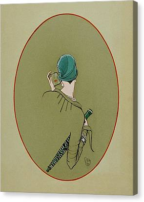Cloche Hat Canvas Print - A Woman Looking In A Mirror by Porter Woodruff