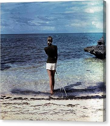 A Woman On A Beach Canvas Print by Serge Balkin