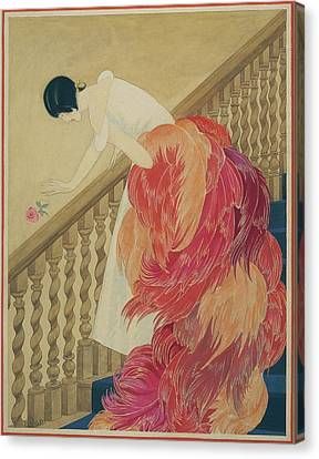 A Woman On A Staircase Canvas Print by George Wolfe Plank