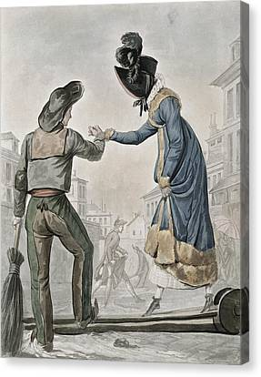 A Woman Paying A Street Sweeper Canvas Print by Antoine Charles Horace Vernet