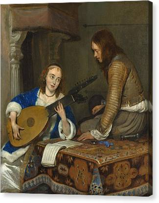Woman Playing A Lute Canvas Print - A Woman Playing The Theorbo-lute And A Cavalier by Gerard ter Borch
