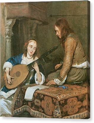 Woman Playing A Lute Canvas Print - A Woman Playing The Theorbo-lute And A Cavalier by Gerard Terborch