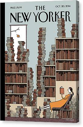Seasons Canvas Print - A Woman Reclines In A Room Full Of Books by Tom Gauld