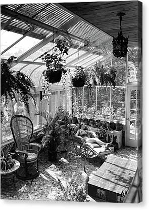 Conservatory Canvas Print - A Woman Resting On A Chair Inside A Greenhouse by Eric J. Baker