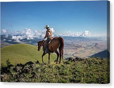Riding Canvas Print - A Woman Rides The Range by Cory Richards