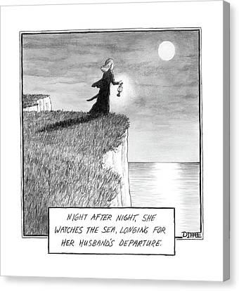 Women Canvas Print - A Woman Runs In The Dark Toward A Cliff by Matthew Diffee