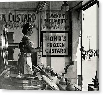 A Woman Selling Custard Canvas Print by Lusha Nelson