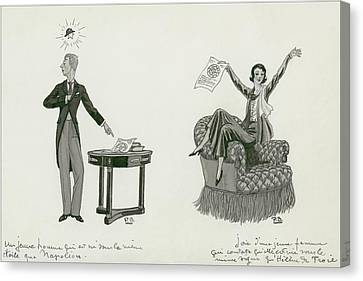 A Woman Sitting On An Armchair And A Man Pointing Canvas Print by Pierre Brissaud
