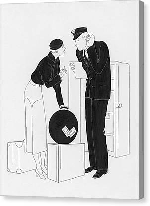 A Woman Speaking To A Customs Officer Canvas Print by  Rovinsky