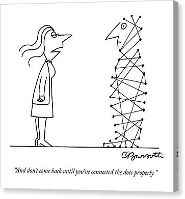 A Woman Speaks To A Man Whose Body Is A Series Canvas Print by Charles Barsotti