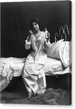 A Woman Taking Medicine Canvas Print by Underwood Archives