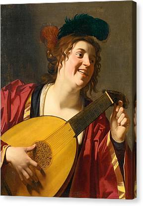 A Woman Tuning A Lute Canvas Print by Gerard van Honthorst