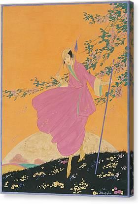 A Woman Walking On A Hill Canvas Print by Helen Dryden