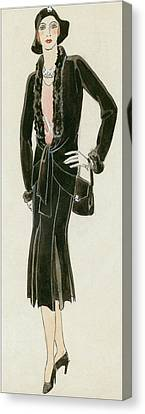 A Woman Wearing A Black Suit Canvas Print