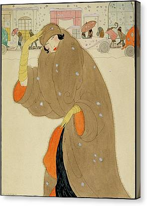 A Woman Wearing A Brown Coat Canvas Print by Helen Dryden