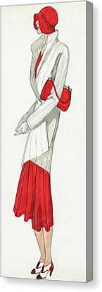 A Woman Wearing A Ermine Coat And Red Dress Canvas Print by David