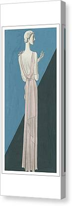 A Woman Wearing A Gown By Mainbocher Canvas Print by Eduardo Garcia Benito