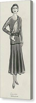 A Woman Wearing A Lanvin Dress Canvas Print