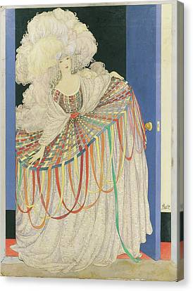 Multicolored Canvas Print - A Woman Wearing A Multicolored Pannier Dress by George Wolfe Plank