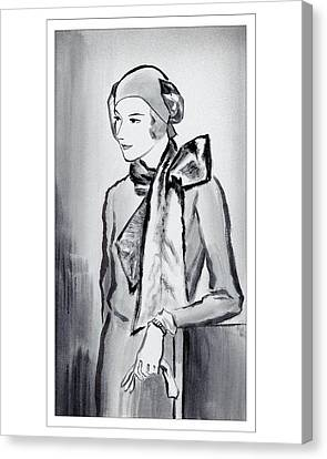 A Woman Wearing A Scarf Canvas Print by Rene Bouet-Willaumez