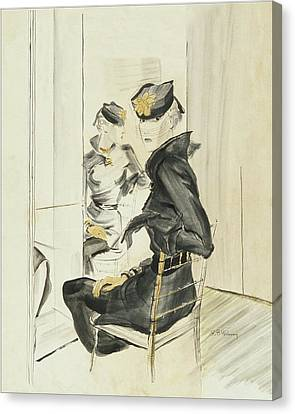 A Woman Wearing A Toque By J Suzanne Talbot Canvas Print by Ren? Bou?t-Willaumez