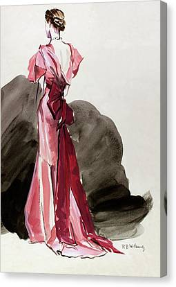A Woman Wearing A Vionnet Dress Canvas Print by Rene Bouet-Willaumez