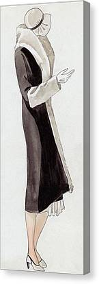 A Woman Wearing Black And White Canvas Print by  David