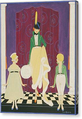 A Woman With A Boy And Girl Canvas Print by Irma Campbell