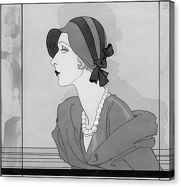 Profile Canvas Print - A Women Wearing A Bonnet And A Pearl Necklace by Douglas Pollard