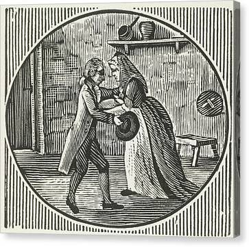 A Woodcut Of A Man And A Woman Embracing Canvas Print by British Library