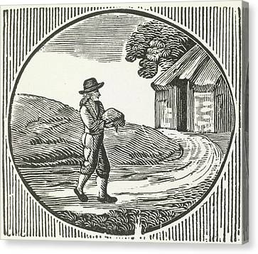 A Woodcut Of A Man Carrying A Package. Canvas Print by British Library