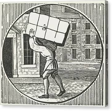 A Woodcut Of A Man Carrying A Parcel. Canvas Print by British Library
