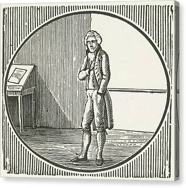 A Woodcut Of A Man Standing Canvas Print by British Library