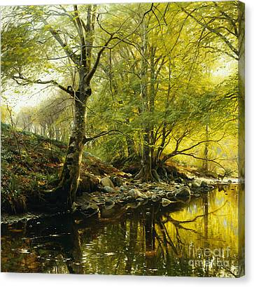 A Wooded River Landscape Canvas Print by Peder Monsted