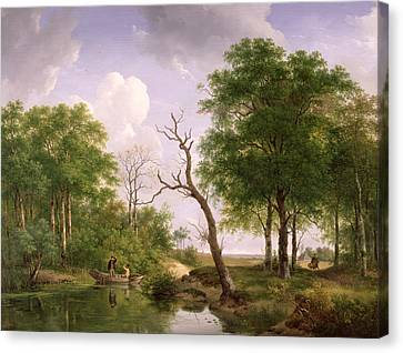 A Wooded River Landscape With Sportsmen In A Rowing Boat Canvas Print by Andreas Schelfhout