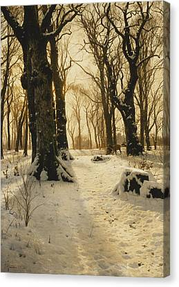 Bare Trees Canvas Print - A Wooded Winter Landscape With Deer by Peder Monsted
