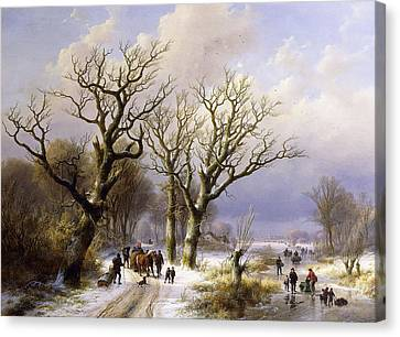 Landscape With Figure Canvas Print - A Wooded Winter Landscape With Figures by Verboeckhoven and Klombeck