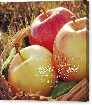 a Word Fitly Spoken Is Like Apples Of Canvas Print by Traci Beeson
