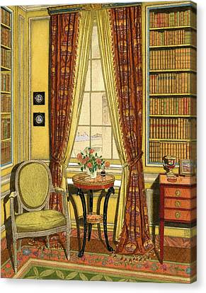A Yellow Library With A Vase Of Flowers Canvas Print by Harry Richardson
