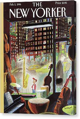 A Young Boy Admires A Saxophone Canvas Print