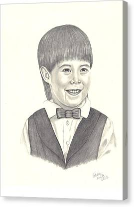 Canvas Print featuring the drawing A Young Boy by Patricia Hiltz