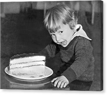 A Young Boy Ready For Cake Canvas Print