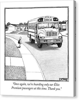 Air Travel Canvas Print - A Young Boy Waits Beside A School Bus by Matthew Diffee