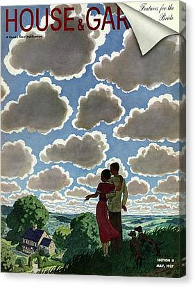 A Young Couple And Their Dogs On A Hilltop Canvas Print by Pierre Brissaud