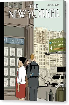 A Young Family Reviews Real Estate Listings Canvas Print by Adrian Tomine
