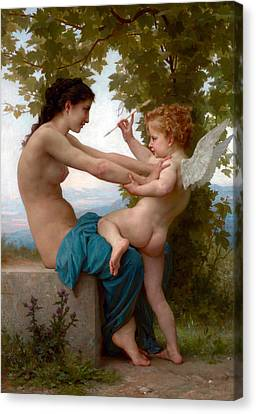 A Young Girl Defending Herself Against Eros  Canvas Print by Munir Alawi